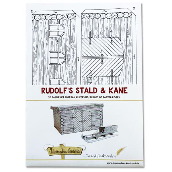 Rudolfs stald og kane i 3D samlesæt fra Julemandens Værksted - Julemandens Flaskepost