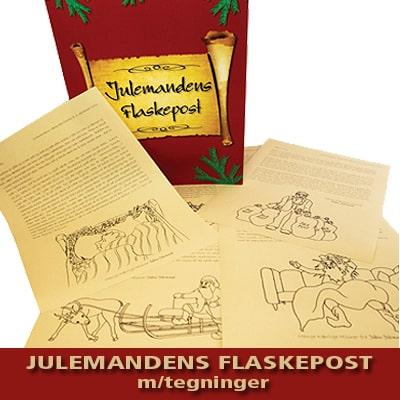Julemandens flaskepost 24 personlige nissebreve med tegninger til dit barn fra julemanden