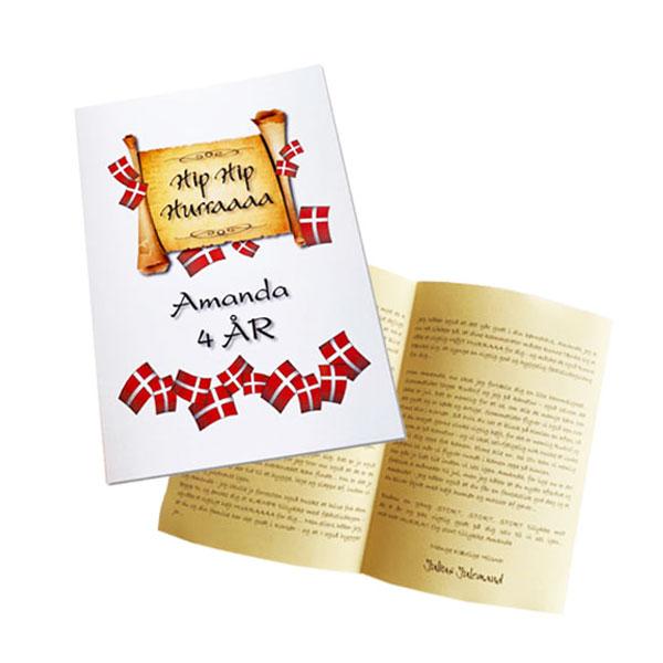 Personlig fødselsdagshilsen skrvet til dit barn fra julemanden - Fødselsdagskort med barnets personlige oplysninger