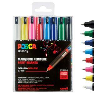 Posca pc-1mr sæt - Posca tuscher pc-1mr i sæt med 8 stk. standard farver