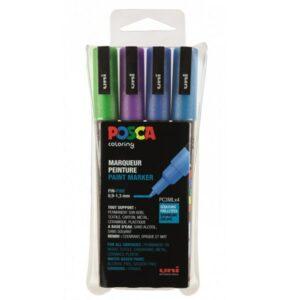 Posca pc-3m sæt - Posca tuscher pc-3m i sæt med 4 stk. glitter farver blålige nuancer