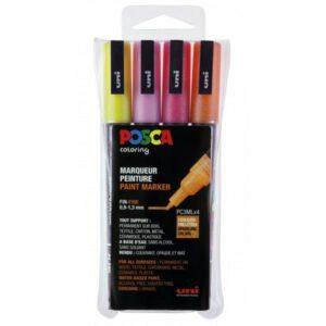 Posca pc-3m sæt - Posca tuscher pc-3m i sæt med 4 stk. glitterfarver rødlige nuancer